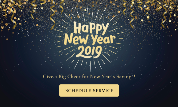 Happy New Year 2019 - Give A Big Cheer For New Year's Savings - Schedule Service